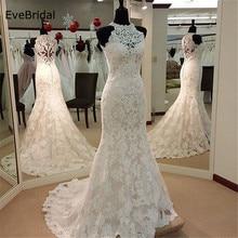Mermaid Applique Satin Lace  Wedding Dress High Neck Sleeveless Floor length Court Train Bridal Gown