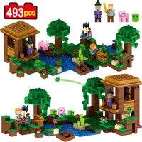 MON MONDE Sorcière Cabane Maison 3 changements Steve porc Minecraft Blocs de Construction Briques Compatible Legoe Chiffres enfants jouets cadeau 33051