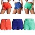 2016 Nova Cor Dos Doces Mulheres Do V Sexy Cintura Alta Bolso Briga de borla Verão Short Jeans Casual Hot Shorts Jeans Mais tamanho
