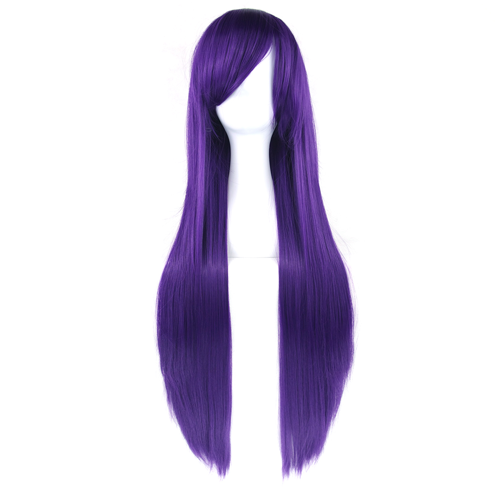 Soowee 24 Colors 32inch Long Straight Cosplay Wigs Purple Black Party Hair Accessories Synthetic Hair Wig For Women