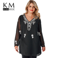 Kissmilk Plus Size Women Solid Black Shirt National Style Contrast Color Floral Embroidery Tops V Neck