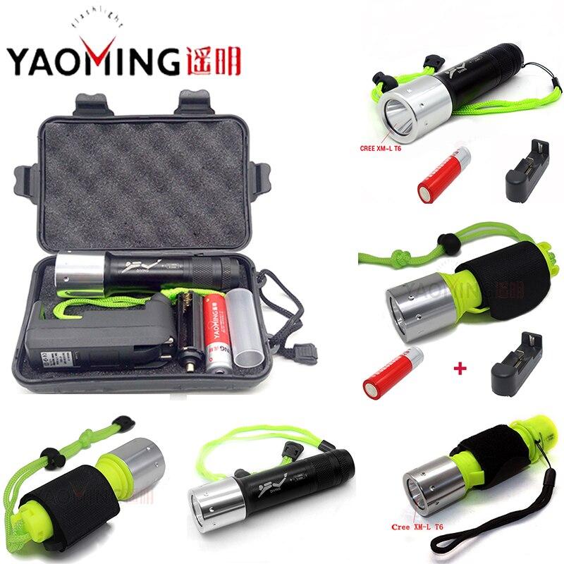 YAOMING T6 LED buceo linterna para la pesca con arpón submarino de buceo linterna de buceo iluminación resistente al agua Luz
