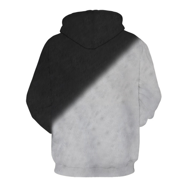 3D Black And White Cat Hoodie For Men And Women