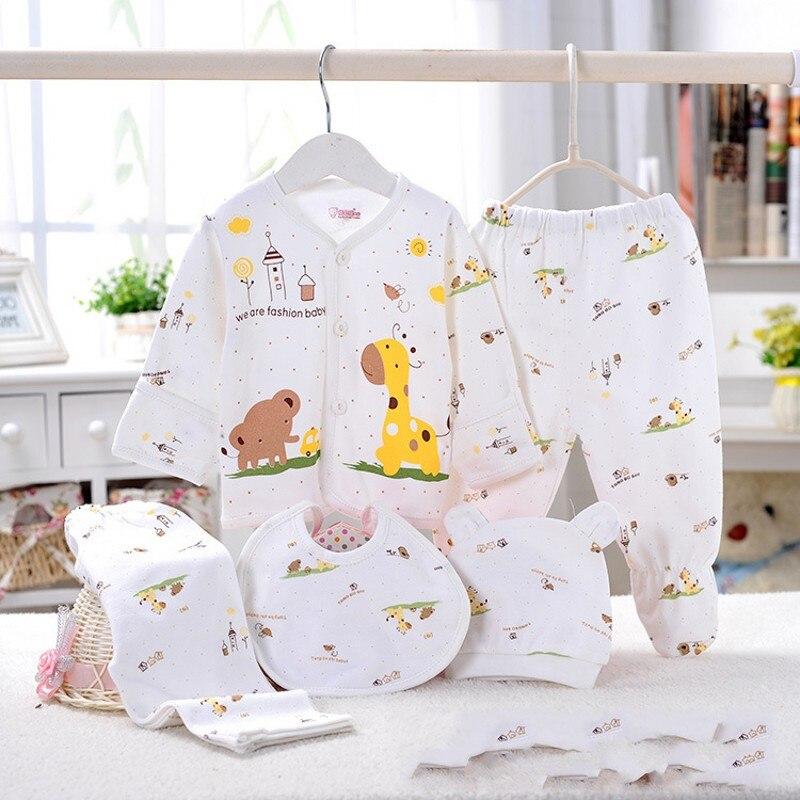 100% Coton bébé sous-vêtements sous-vêtements cinq ensembles de nouveau-nés 0-3 mois mignon de bande dessinée sous-vêtements bébé costume