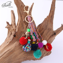Badu Colorful Pompom Key Chain Gold Lobster Clasp Big Bohemian Bag Pendant Cute Lovely Holiday Jewelry Wholesale