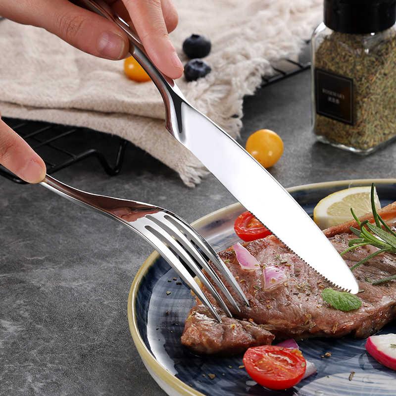 الجملة 24 قطعة/المجموعة الفولاذ المقاوم للصدأ مجموعة أدوات المائدة أدوات المائدة الفضيات مجموعة الطعام الغربي شوكة سكين أواني الطعام مجموعة انخفاض الشحن