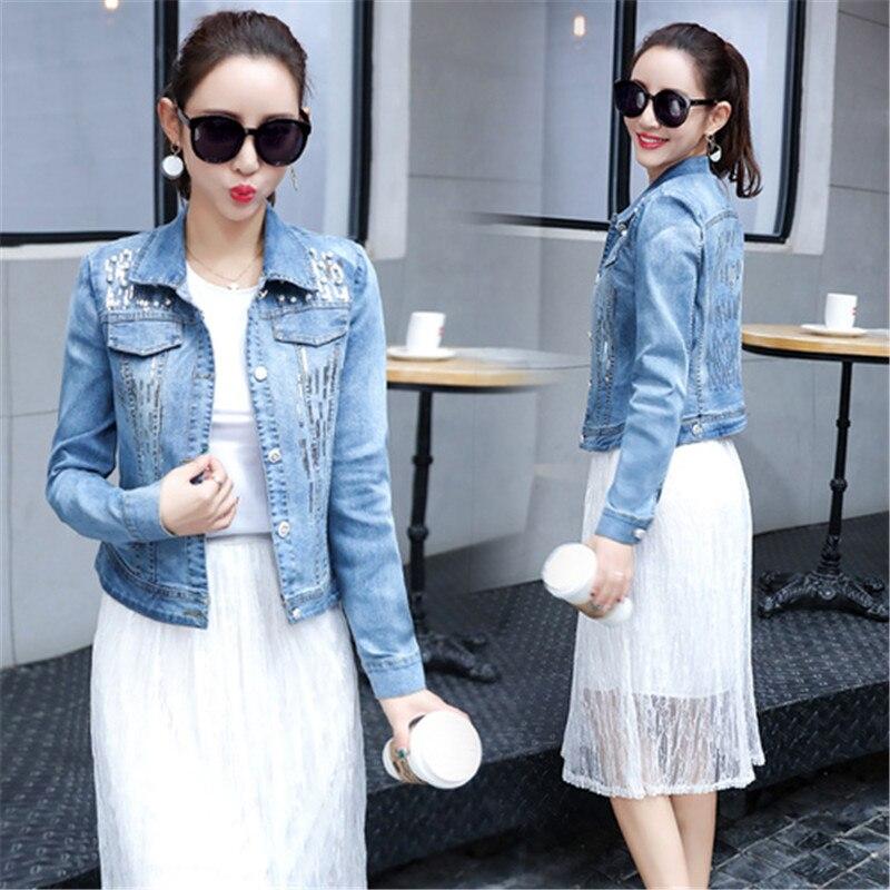 Summer Autumn Denim Jacket Women 2018 Three Quarter Slim Cotton Light Washed Short Jeans Jacket Coats