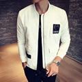 2017 осень куртка мужчины Letter pattern патч шить Тонкий стильный авиатор куртка Толстая повседневная пальто