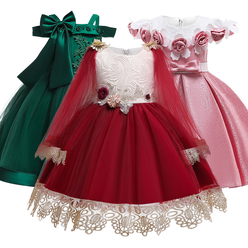 New Girl Princess's birthday party banquet shoulder strap dress Flower Girl's wedding lace hollow sleeve party dress vestidos