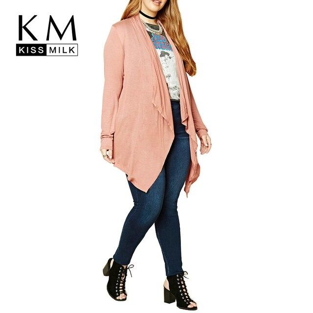 Kissmilk Плюс Размер Осень Элегантный Основной Большой Размер Пальто Тонкий свободные Пальто Вскользь Кардиганы 3XL 4XL 5XL 6XL Длинным Рукавом пальто