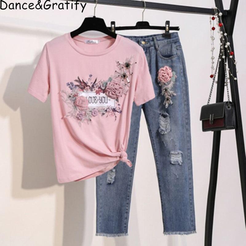 Embroidery Love 3D Floral Cotton Jumpers Shirt+ Low Waist Pencil Jeans Women Fashion 2ps Casual Sets Stylish Denim Pants Suit