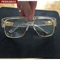Peekaboo nova moda de ouro de grandes dimensões claras óculos de armação quadrados armações para óculos de marca designer de alta qualidade do sexo feminino masculino grande