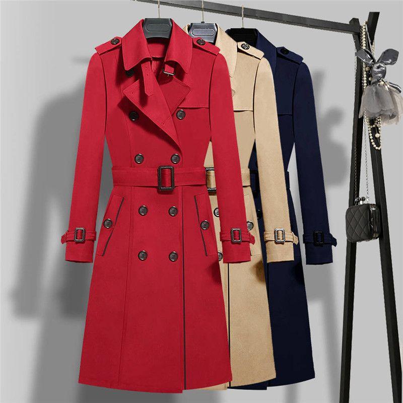 2019 New Spring Women Double Breasted Long Trench Coats Khaki Slim Belt Cloak Windbreaker Female Plus Size S-5XL Outerwears M37