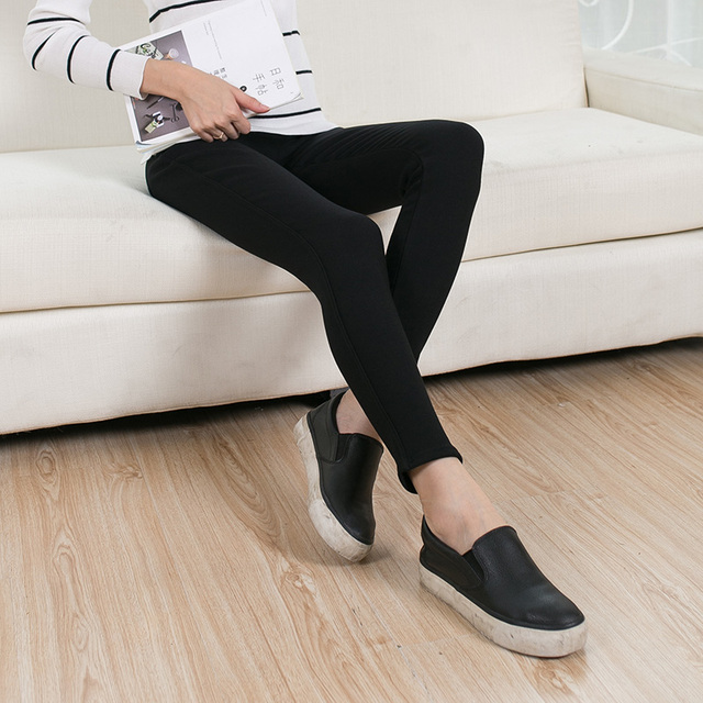 Polainas de Las Mujeres de moda de Invierno Cálido Terciopelo Leggings de Talle Alto Flaco Estiramiento Lápiz Pantalones Pantalones de Cuero de Imitación Leggings YA-113