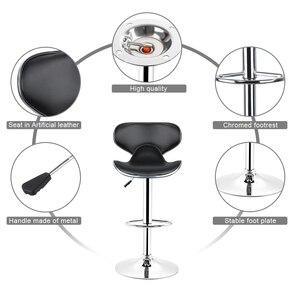 Image 4 - Destockage 2 pièces/ensemble noir papillon forme PU cuir dossier ajusté rotatif chaises de Bar tabourets de Bar accessoires de Bar HWC
