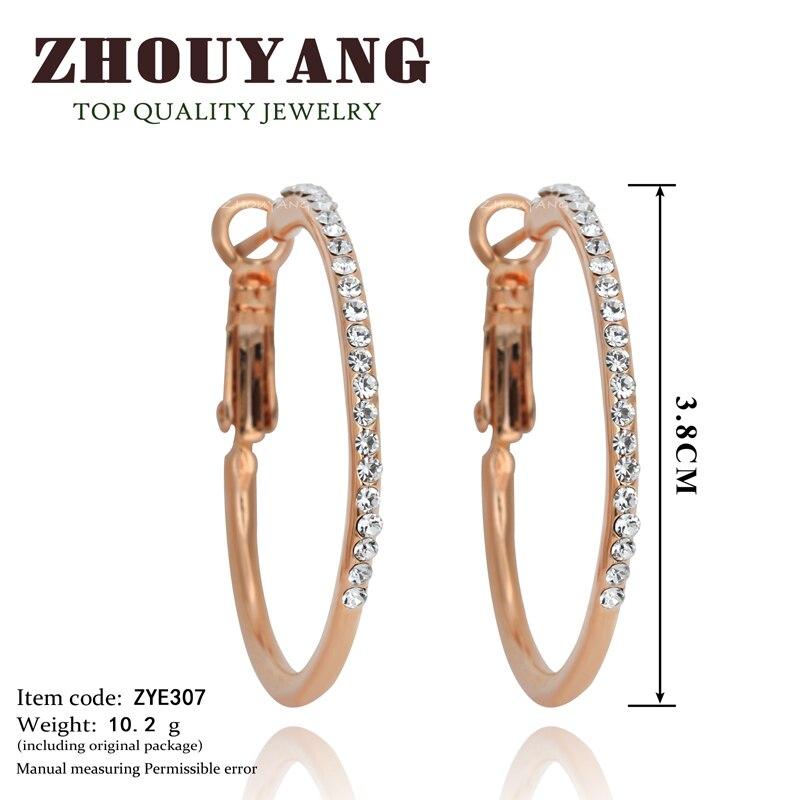 Классические большие золотистые серьги-кольца с кристаллами Ruond для женщин, австрийский кристалл, высокое качество ZYE307
