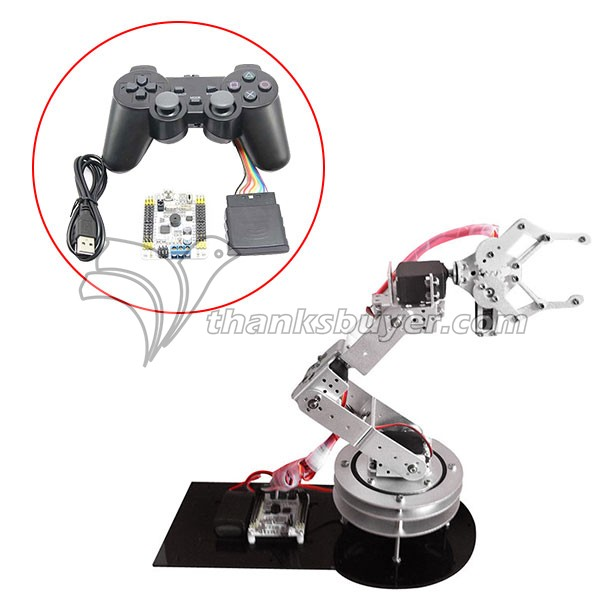 6DOF Robotic Aluminium Robot Arm Clamp Claw & 6pcs MG996R Servos & 32CH Controller Full Set -Silver robot parts robot grips department of class double action clamp outlet clamp 1615d