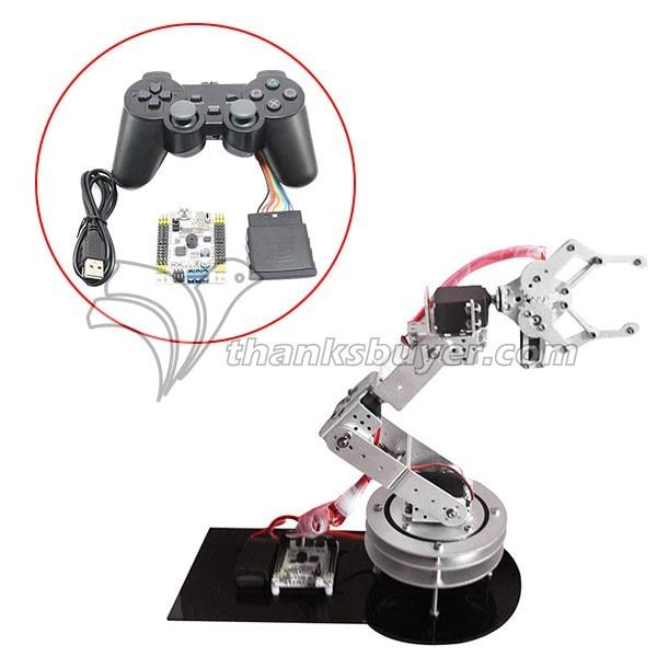 6DOF Robotic Aluminium Robot Arm Clamp Claw & 6pcs MG996R Servos & 32CH Controller Full Set -Silver 6 dof robot arm six axis manipulators industrial robot model robot without controller mg996r