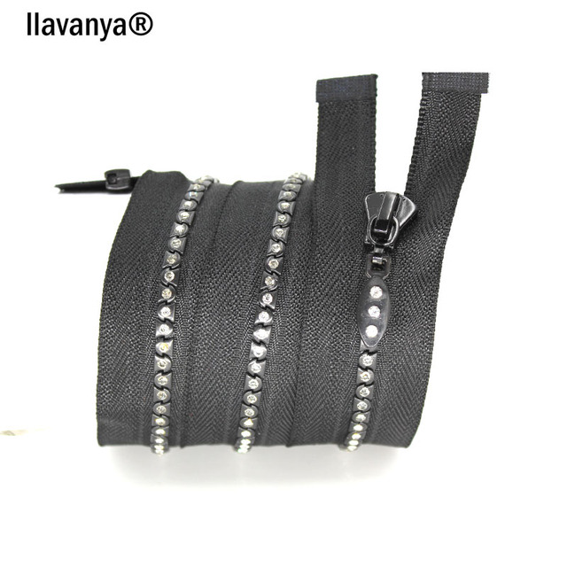 5 pcs a lot  5# 70cm  Zipper With  Diamond Black Tape Zippers For Down Jacket For Sewing Arts Crasft Diy Clothing Accessores