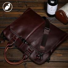ETONWEAG New 2016 men brands Italian leather luxury laptop shoulder bag document bags brown business style zipper handbags