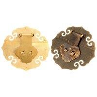 DRELD Brass/Antique Copper Furniture Lock Hasp Jewelry Wooden Box Locking Buckle Hasp Lock Latch Chinese Furniture Hardware