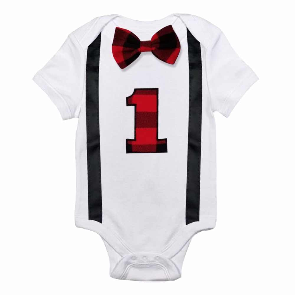 7c9a0c7937c ... Baby Boys Rompers Little Gentleman Suspenders Tie Bow Boys Summer  Clothes First 1st Birthday White Romper ...