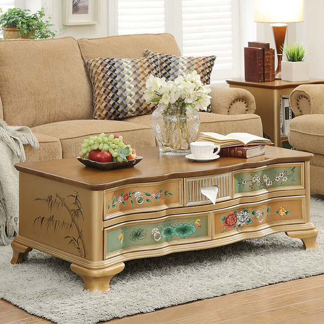 Small Apartment American Country Wood Coffee Table TV