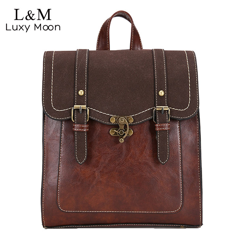 Vintage Women Backpack High Quality Leather Brand Female Bla