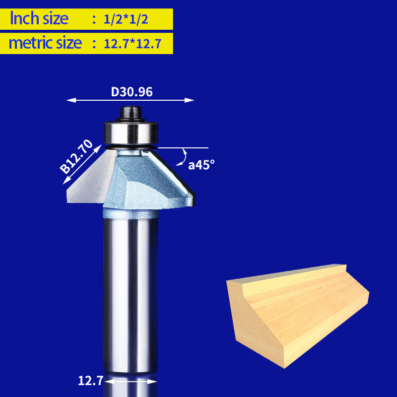 1pcs router bit for Wood bearing trimming blades milling cutter Woodworking Machine knife cutting tools for cnc milling machine 2pc woodworking 45 degrees 1 2 1 milling cutter with bearing trimming blades knife gong woodworking machine cutting tools