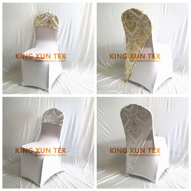 25 50 100 sztuk Mettalic Lycra elastan pokrywa uniwersalne do dekoracji ślubnych Stretch Party pokrowce na krzesła Event Hotel w Pokrowiec na krzesło od Dom i ogród na  Grupa 1
