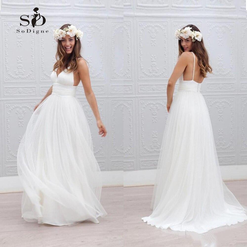 White/Lvory Wedding Dress 2018 Beach Bride Dress Sexy Informal Modest Dress Hot Sale Backless V-neck