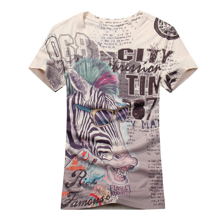 Online buy wholesale zebra print t shirt mens from china for 100 cotton v neck t shirts wholesale