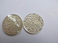 100pcs 20mm handmade flower carved MOP shell mother of pearl roundel carved jewelry bead