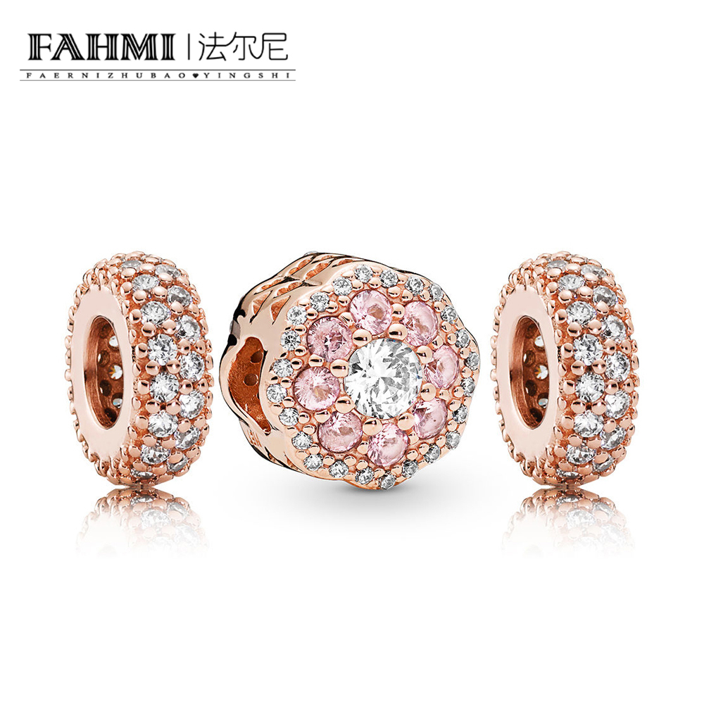 FAHMI 100% 925 Sterling Silver New 2019 Spring RAU0593 Rose Shining Flower Charm Pack Beaded Gift Set Fit DIY Bracelet BangleFAHMI 100% 925 Sterling Silver New 2019 Spring RAU0593 Rose Shining Flower Charm Pack Beaded Gift Set Fit DIY Bracelet Bangle