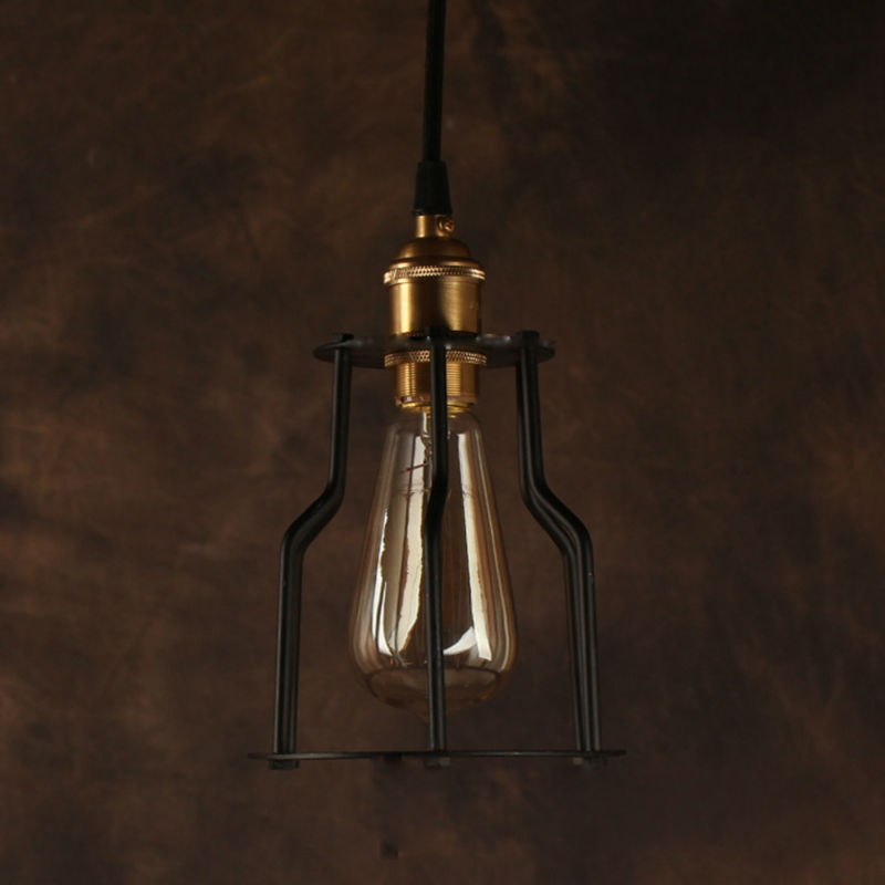 Vintage Pendant Light Industrial Edison Lamp American Style Copper Base With Cage RH Loft Coffee Bar Restaurant Lights vintage pendant light industrial edison lamp american style clear glass bell shade fixture rh loft coffee bar restaurant lights