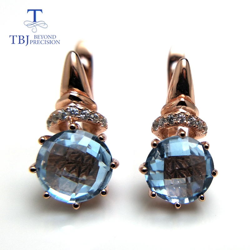 TBJ 2019 new Natural Sky blue topaz checkerboard cutting round 8mm 4 6 gemstone clasp earring
