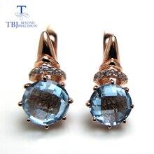 TBJ, новинка, натуральный небесно-голубой топаз, шахматная доска, режущий круг, 8 мм, 4,6 драгоценный камень, застежка, серьги, серебро 925 пробы, розовое золото