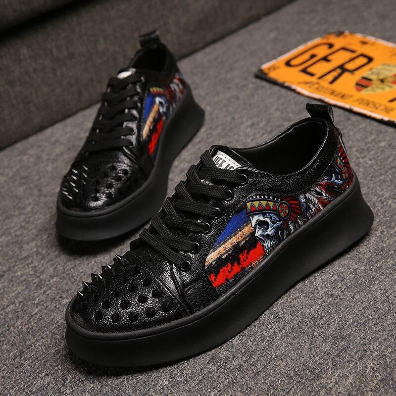 italian design mens fashion banquet prom dress printing rivet shoes flat platform sneaker popular hip hop