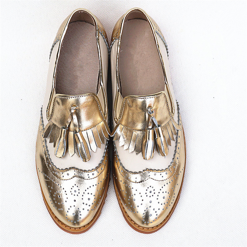 Image 3 - Women oxford Spring shoes genuine leather loafers for woman sneakers female oxfords ladies tassel single shoes 2019 summer shoes-in Women's Flats from Shoes