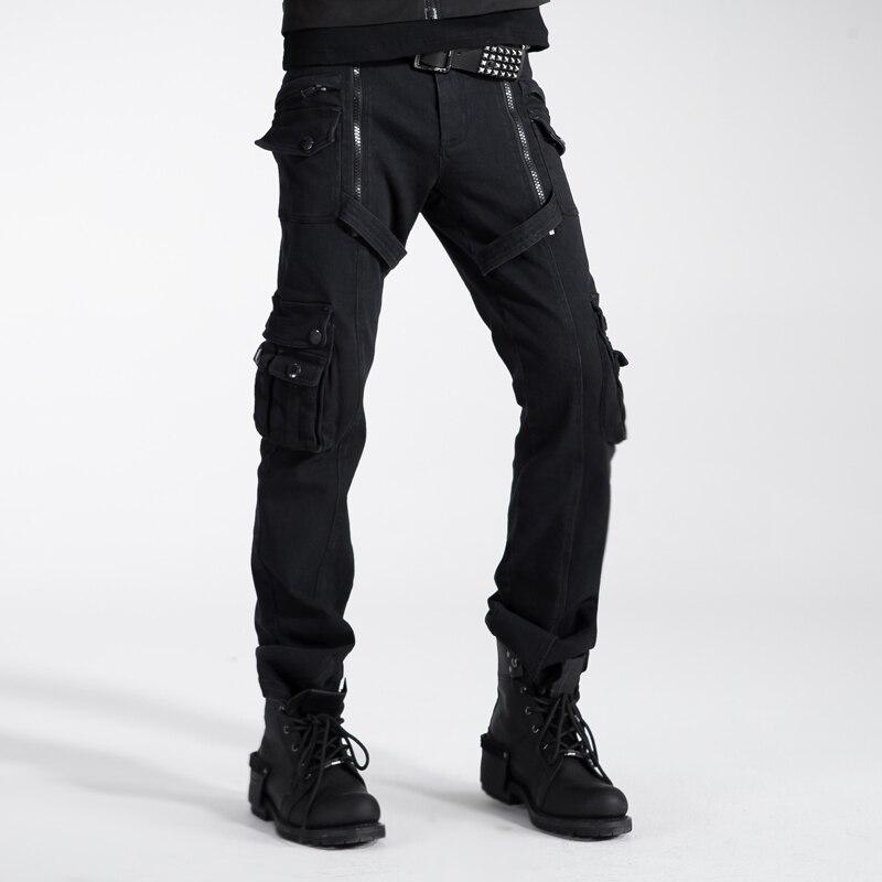 2018 hommes personnalité Punk sac à double fermeture éclair pantalon Rivet ample salopette noir avec ceinture chaussures décontractées pour homme
