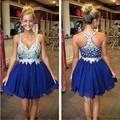 Lovely Royal Blue Short Homecoming Dress Sparkly V Neck Sleeveless Mini Beaded Cocktail Dresses vestido de festa