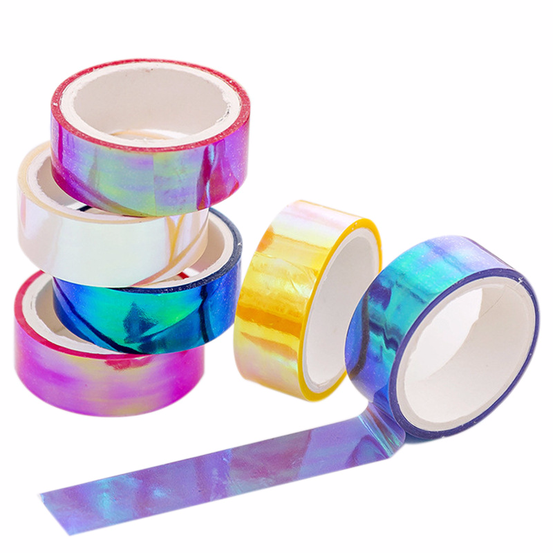 1 Pcs Creative Cool Color Tape Laser Gradient Decoration Waterproof Tape Children Collage PaperScrapbook Album Stickers