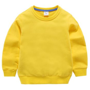 Baby cotton hoodie Girl Sweatshirts Kids Spring Autumn Clothes Tops Children hoodies for Boys sweater solid long sleeve tshirt