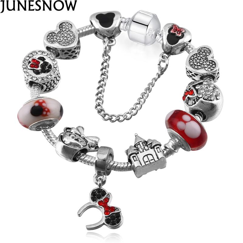 JUNESNOW Ruban Plaqué Mickey Européenne Charme Bracelets et Bracelets Pour Les Femmes Rouge Couleur Cristal Bracelets Pour Enfant Cadeau Bijoux