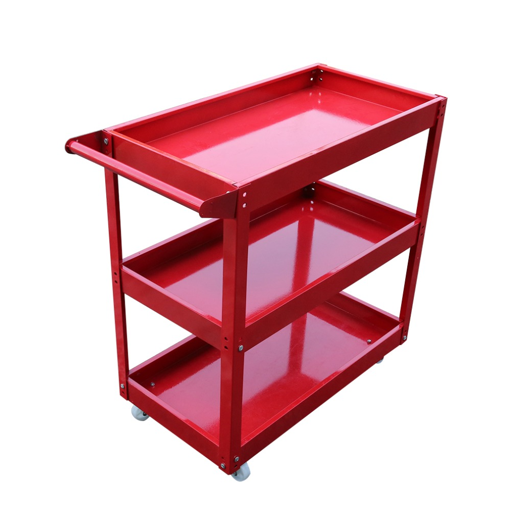 High Performance 3 Tiers Home Garage Workshop Trolley Transport Tool Cart DIY Storage Wheel Cart Trolley for Car Push Tool
