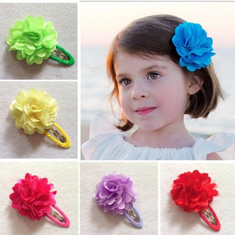 30pcs Hot Sale BB Clip Hairclip Baby Girl 2 mesh flower Headdress Accessories Hair Clips Infant Toddler Kid Girls Hairpin