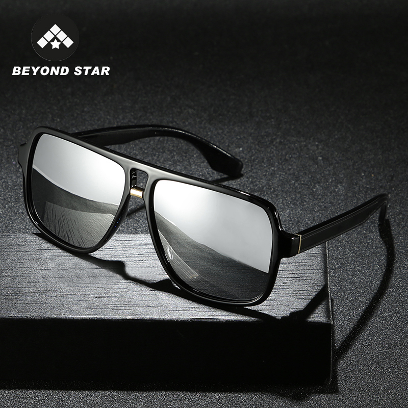BEYONDSTAR 2019 Vintage Men Polarised Silver Mirror Glasses Polarized Iron Man Tony Stark Sunglasses Retro Lunette Soleil G2089