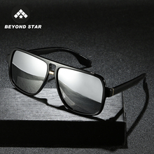 BEYONDSTAR 2019 Vintage Men Polarised Silver Mirror Glasses Polarized Iron Man T