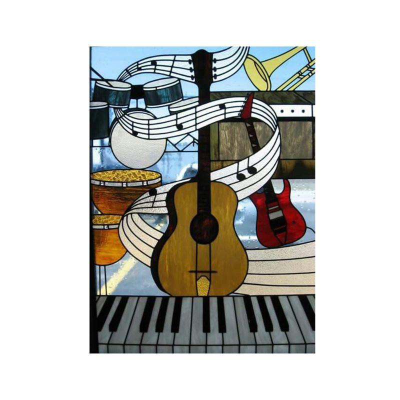 1set Musical Guitar Diy 5d Full Drill Diamond Painting Embroidery Cross Stitch Kit Rhinestone Mosaic Home Cafes Decor Craft