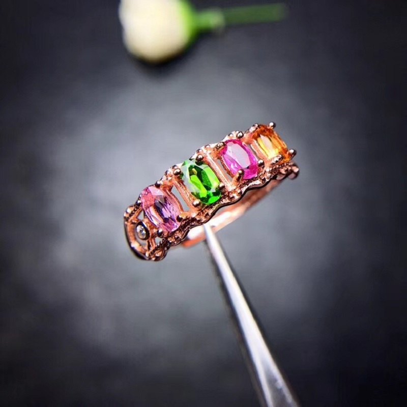 Natural Tourmaline Rings for Women 925 Sterling Silver Fine Jewelry 3 5mm 4 Pcs Gemstone with